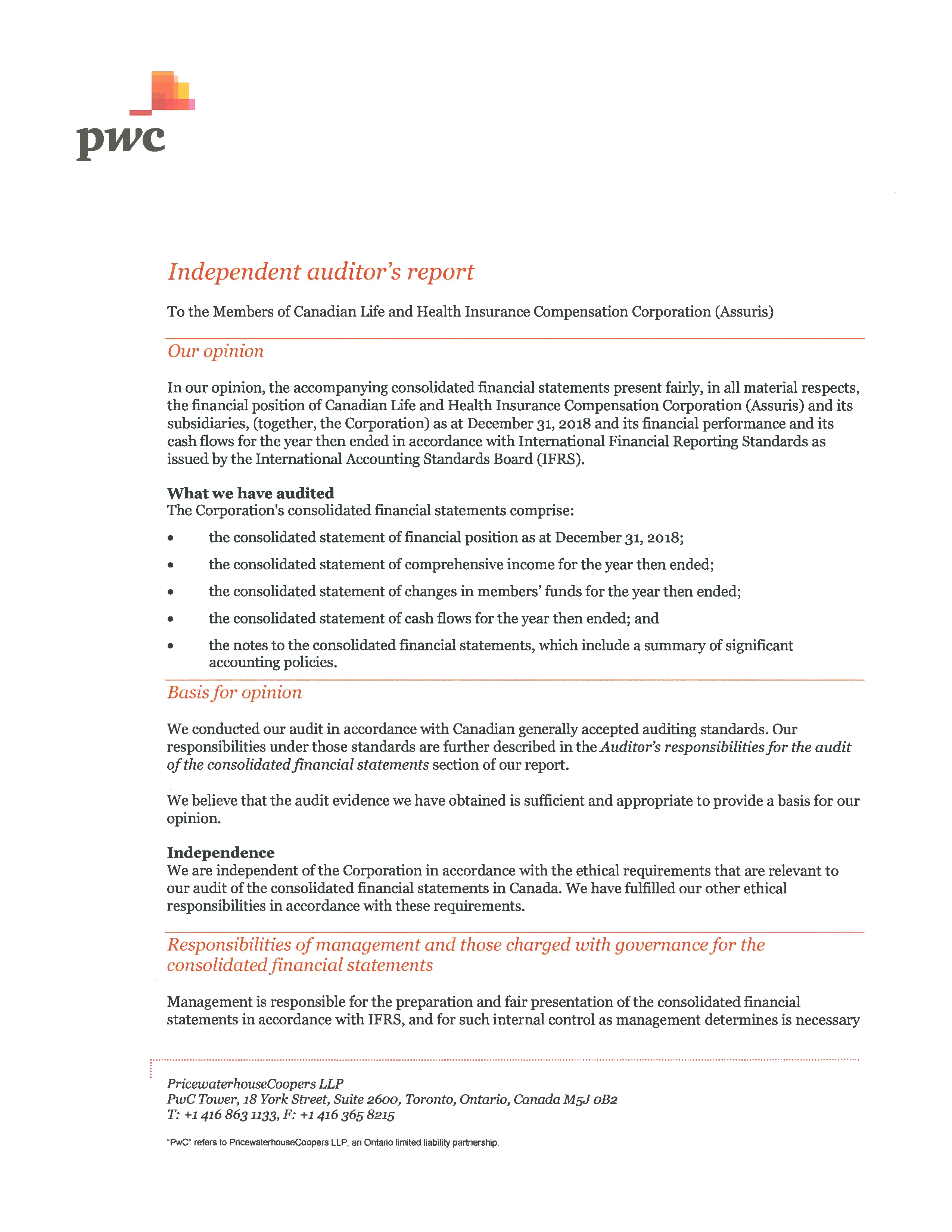 Independent Auditors' Report page 1